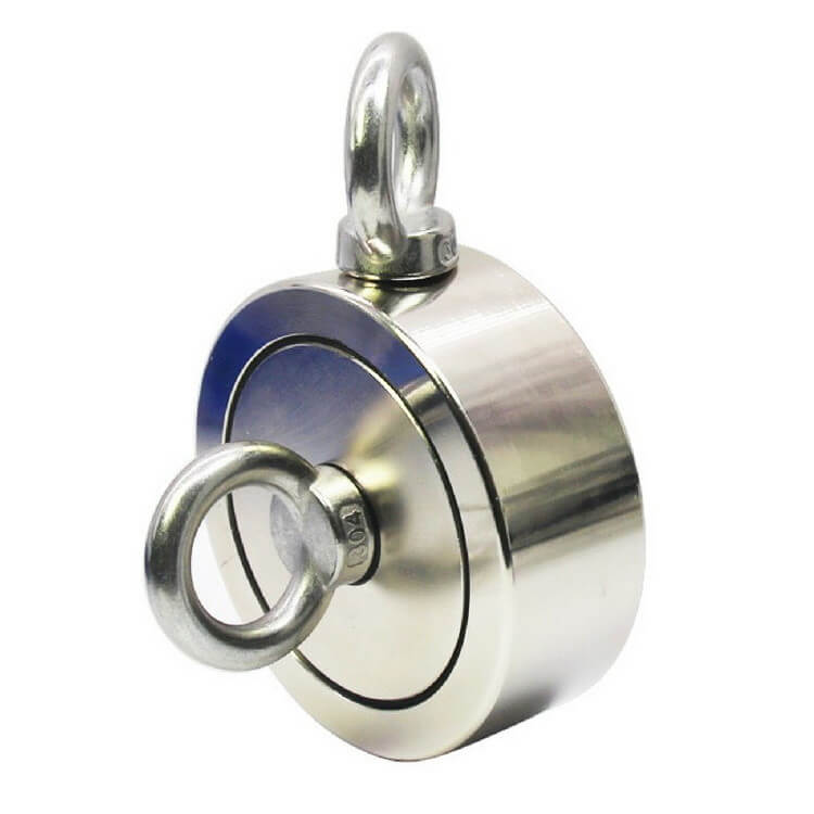 Fishing Neodymium Pot Magnet with 2x M8 Eyebolts PME-RS60 - Force 120kg